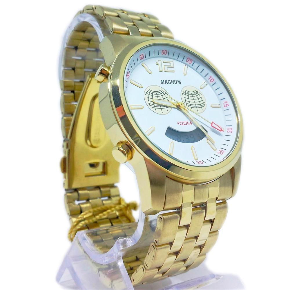 ad7588b5310 relógio masculino dourado analógico digital magnum m funções. Carregando  zoom.