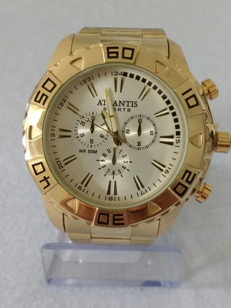 54cea647492 relógio masculino dourado atlantis g3243 sports original. Carregando zoom.