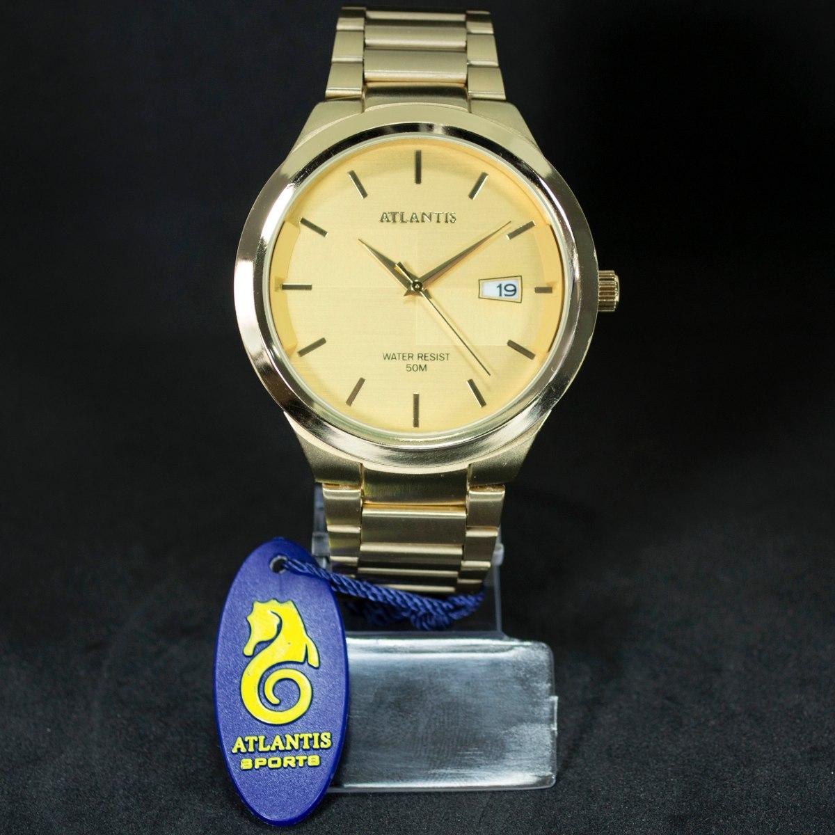 e9298f9df4b relógio masculino dourado atlantis original calendário caixa. Carregando  zoom.