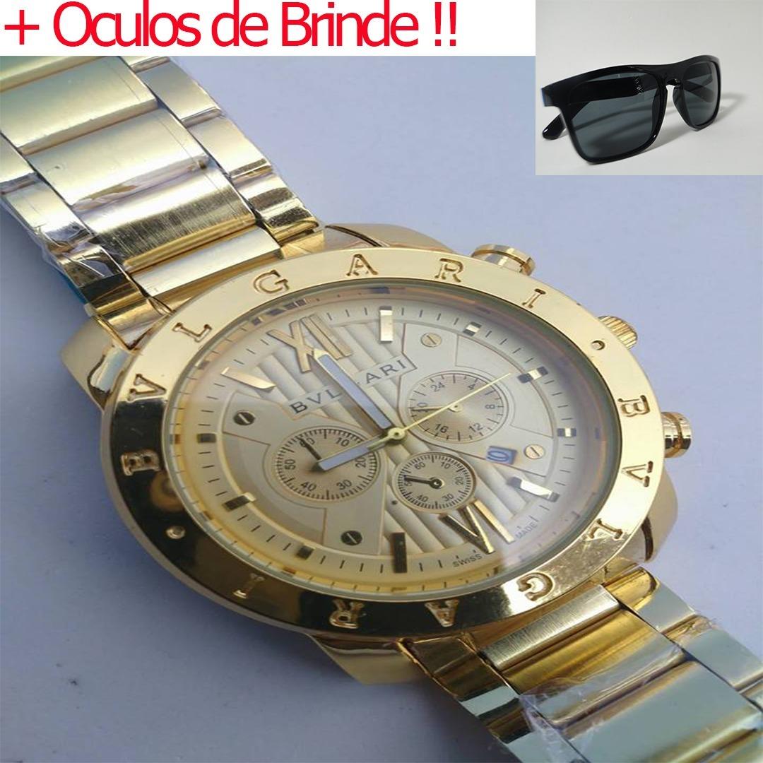 3a8db578847 relogio masculino dourado barato bonito grande + oculos !! Carregando zoom.