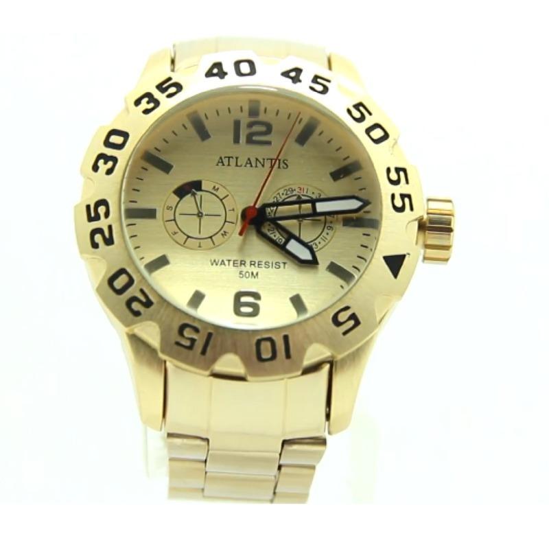 598a24ad7d4 relógio masculino dourado barato grande atlantis original at. Carregando  zoom.