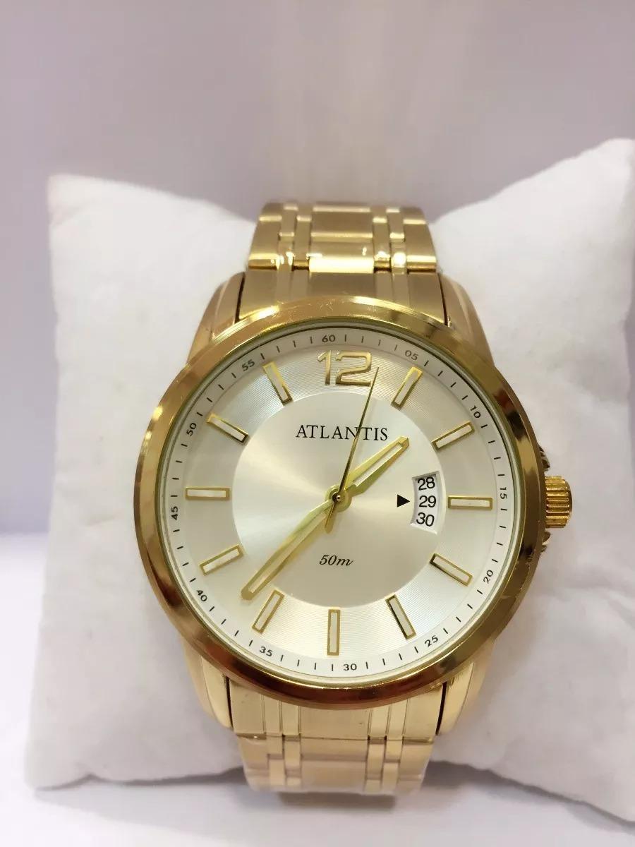 5d7e349d919 relógio masculino dourado barato social aço luxo atlantis. Carregando zoom.