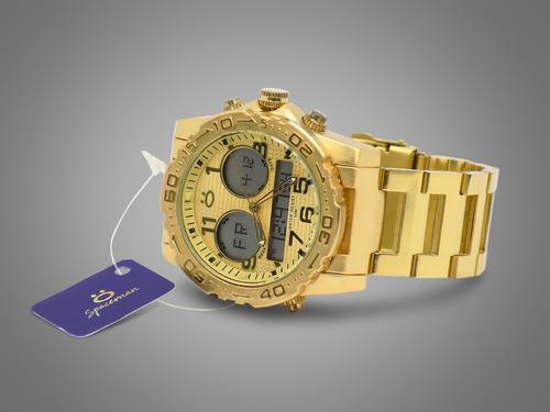 relógio masculino dourado + bonito   original barato + caixa