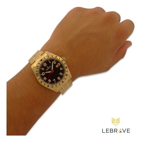 relógio masculino dourado champion ouro 18 + brinde carteira