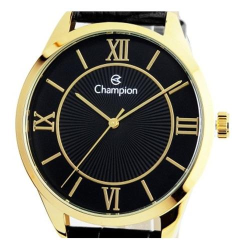 relogio masculino dourado champion pulseira couro preto cn20