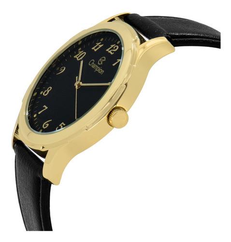 relógio masculino dourado champion pulseira de couro preta