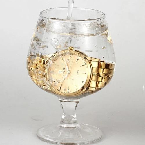 relógio masculino  dourado com caixa  a prova d'água