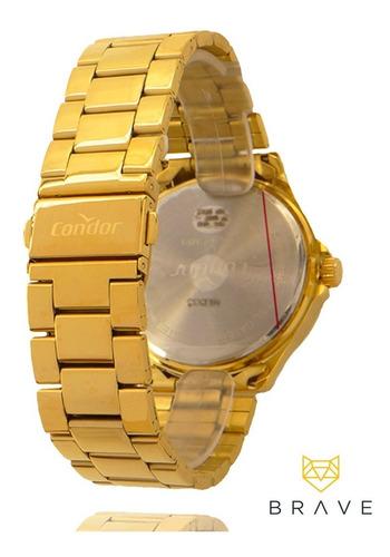 relógio masculino dourado condor ouro 18k + carteira brinde