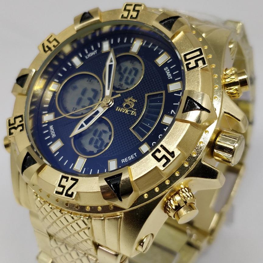 1fbedb55f70 relogio masculino dourado c preto pulseira de metal digita. Carregando zoom.