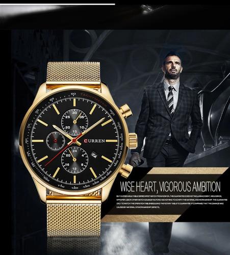 relógio masculino dourado curren 8227  original quartzo