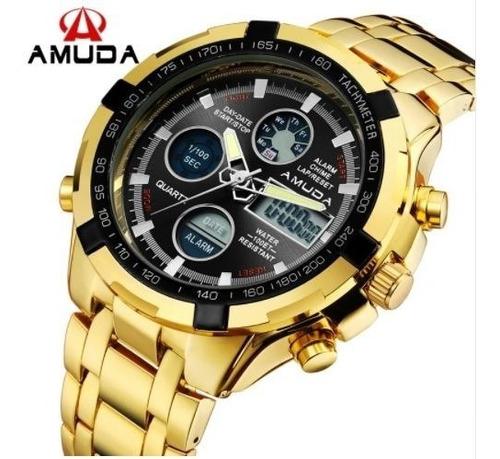 relógio masculino dourado digital e analógico luxo original