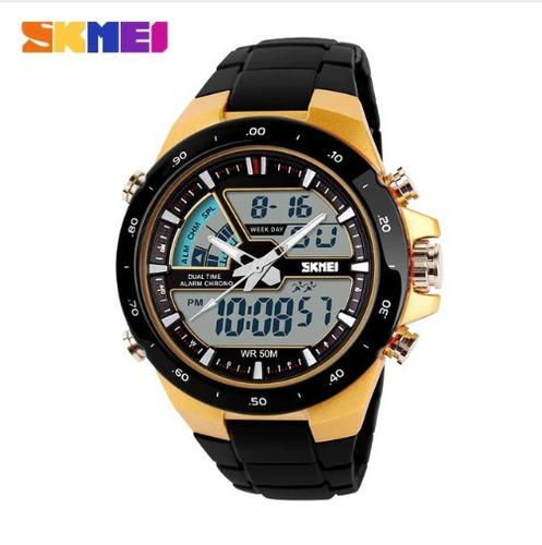 relógio  masculino dourado digital promoção + brinde barato
