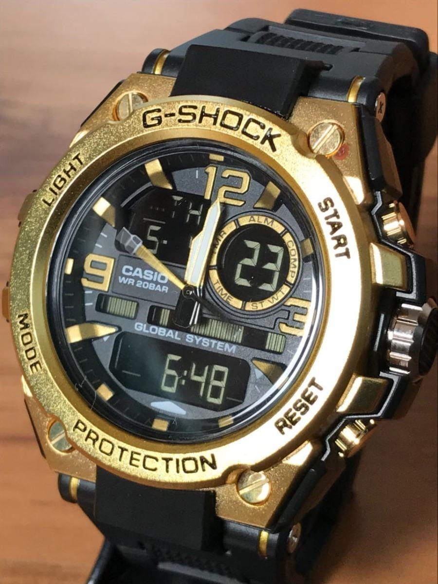 d3f240a9d96 relógio masculino dourado digital top barato. Carregando zoom.