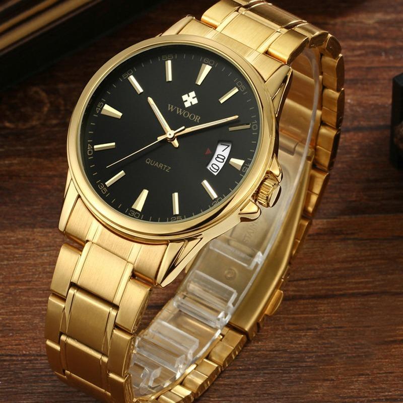 0f4b283539a relógio masculino dourado e preto wwoor 8833 original. Carregando zoom.