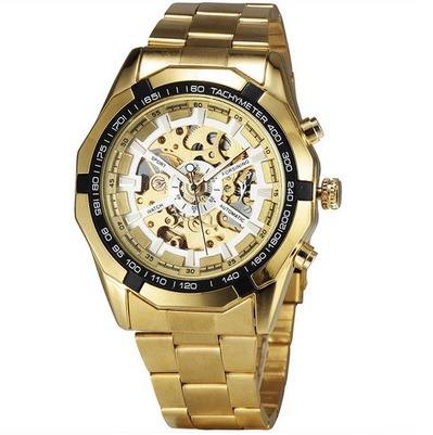 dfab142614c Relógio Masculino Dourado Esqueleto Automático Winner Oferta - R  98 ...
