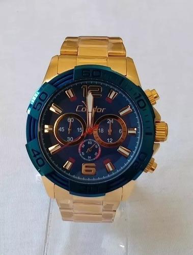 relógio masculino dourado fundo azul  condor grande 18 k