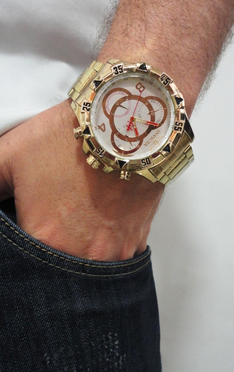 63ca64c4ae9b9 relógio masculino dourado grande melhor preço do mercado. Carregando zoom.