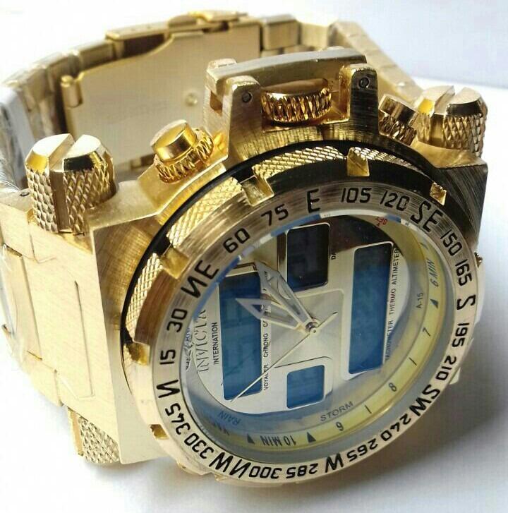 58ad43aadba Relógio Masculino Dourado Grande Pesado - R  89
