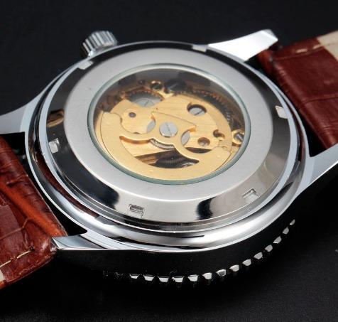 0dbad6d9643 Relogio Masculino Dourado Inox Couro Automatico Transparente - R ...