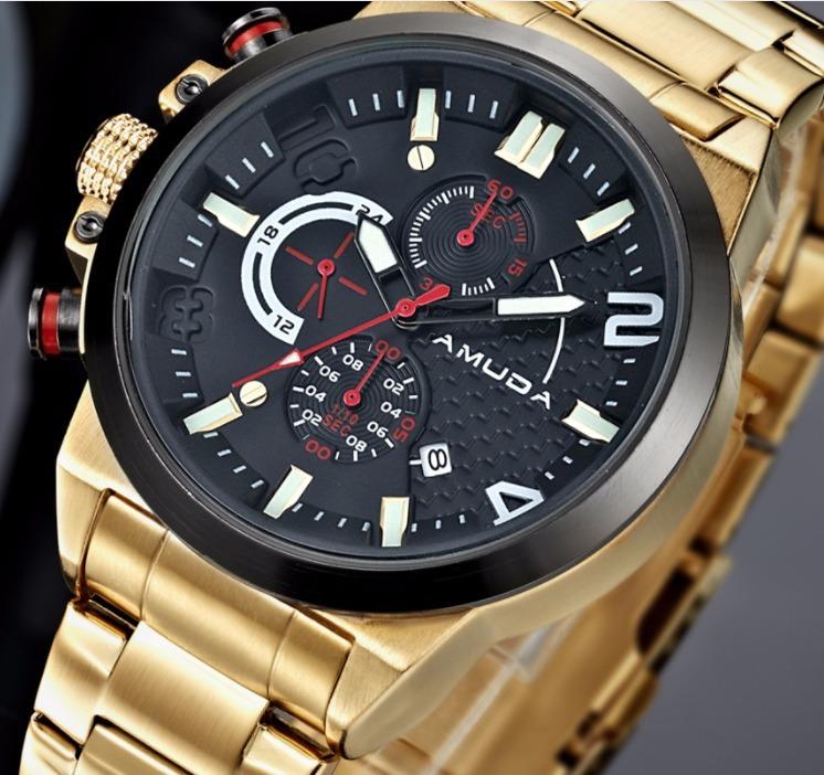 5e2ee15ba64 Relógio Masculino Dourado Luxo Amuda - Am5015 - R  219