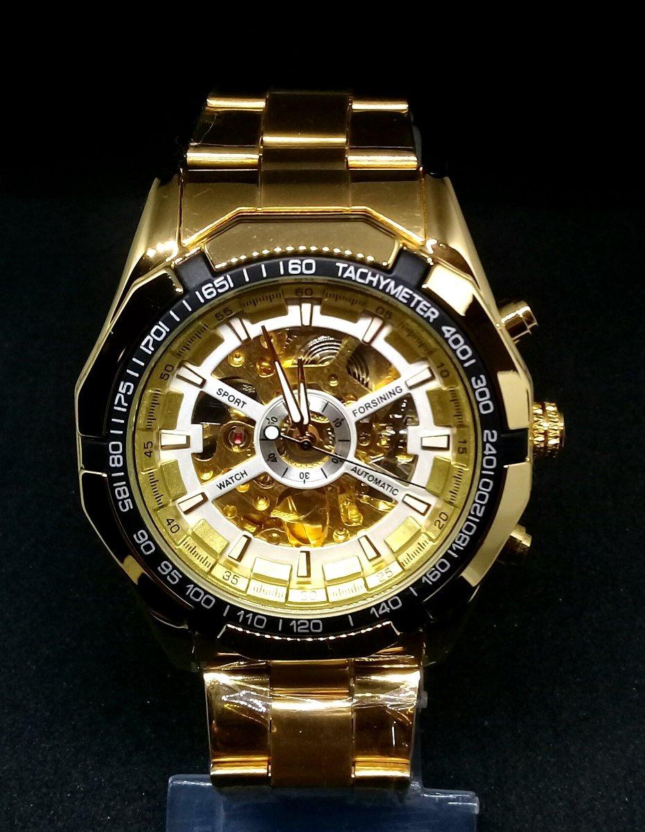 2baa9666dba relógio masculino dourado luxo automátic aço inox promoção. Carregando zoom.