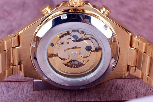 relogio masculino dourado luxo inox automatico esqueletizado