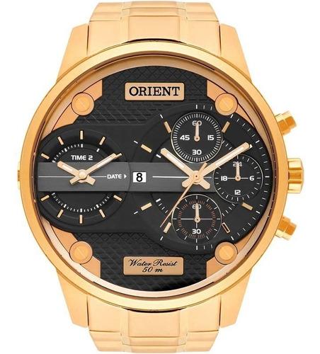 relógio masculino dourado luxo original xl mgsst001p1kx