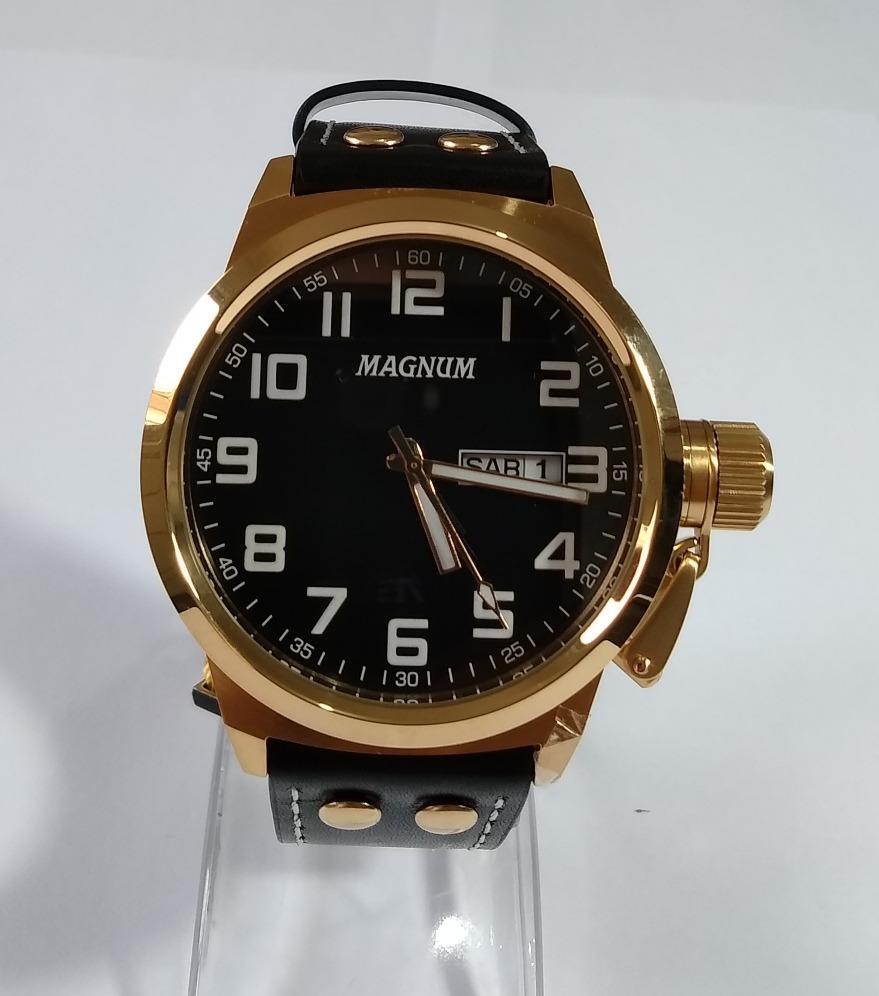 relógio masculino dourado magnum pulseira couro ma32756u. Carregando zoom. b48659bdaf