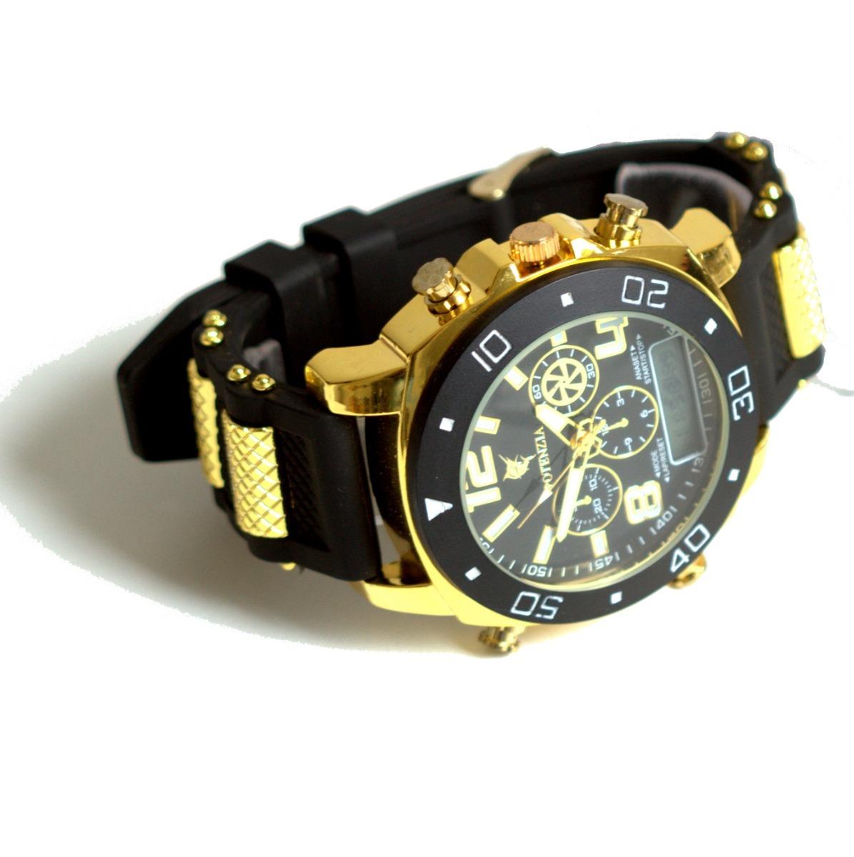49a9374ec relógio masculino dourado militar potenzia barato promoção. Carregando zoom.