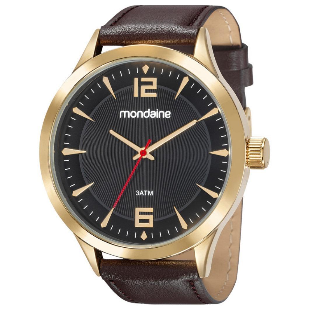 823d9407e relogio masculino dourado mondaine pulseira de couro marrom. Carregando  zoom.