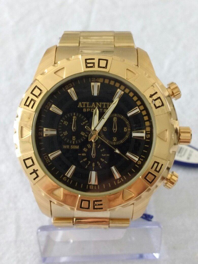 c6177fdf993 relógio masculino dourado original atlantis grande promoção. Carregando zoom .