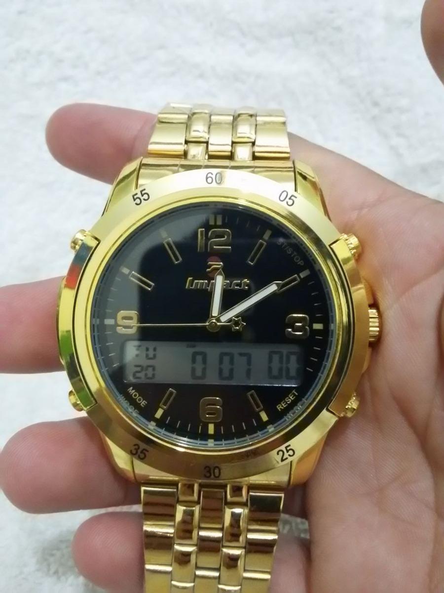 7b61e7b5af3 relógio masculino dourado original impact aço inox grande. Carregando zoom.
