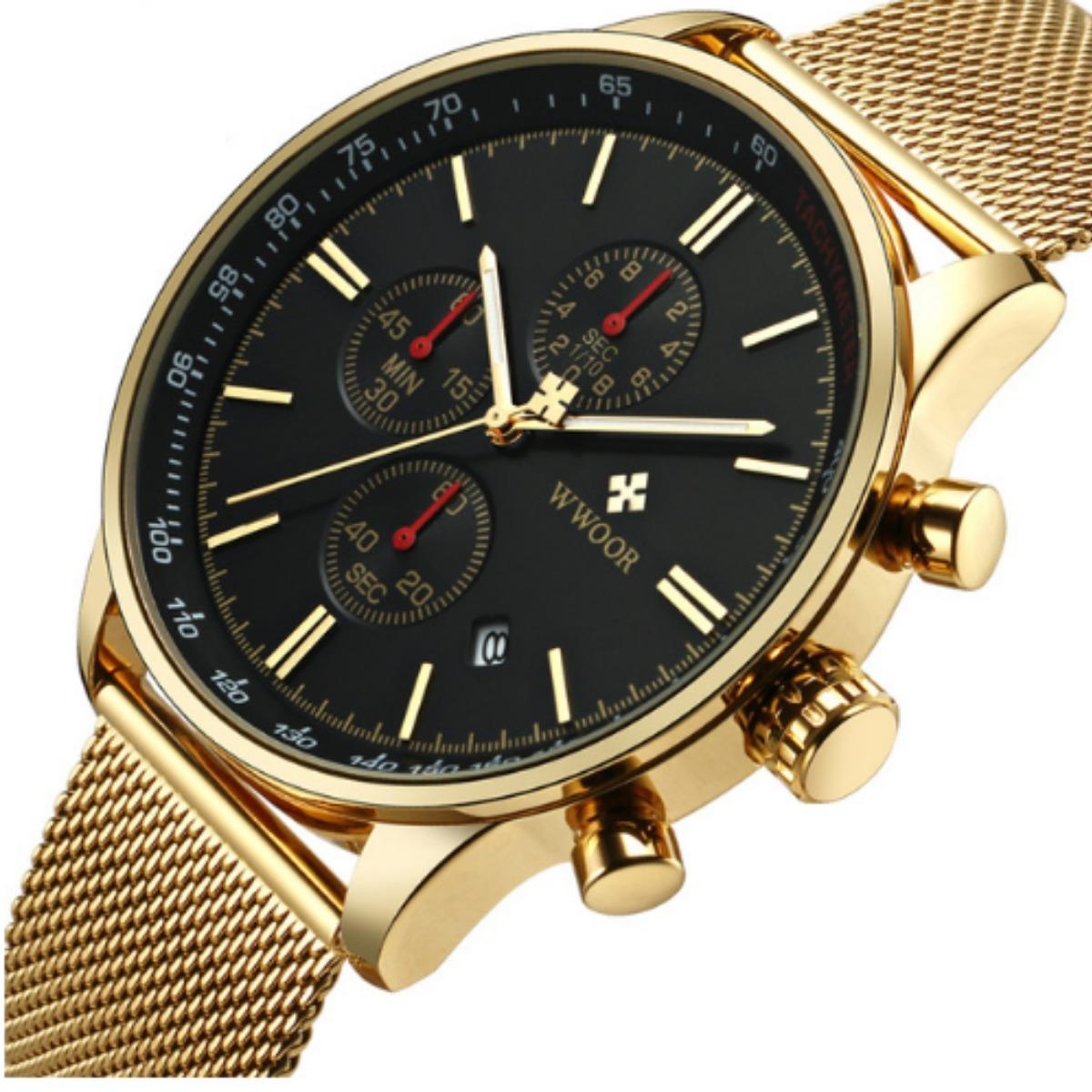 789d5757d56 relógio masculino dourado original luxo analógico wwoor 8862. Carregando  zoom.