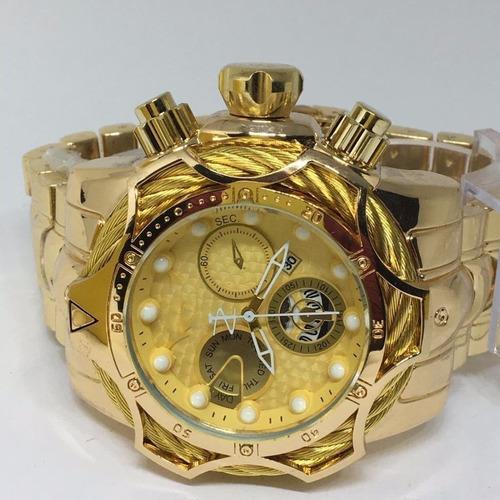 relógio masculino dourado robusto aço +caixa pers+ vedação