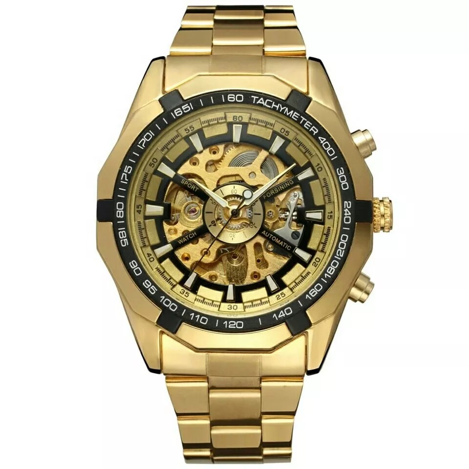 57e31a02a03 relógio masculino dourado skeleton luxo mecânico automático. Carregando  zoom.