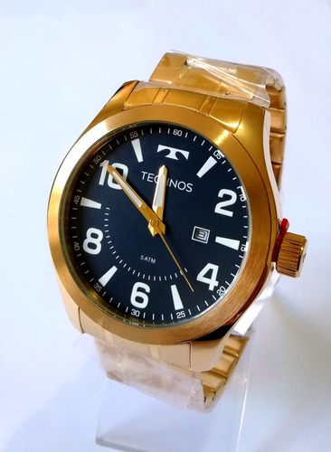 relógio masculino dourado technos 2115mgq/4a performance -