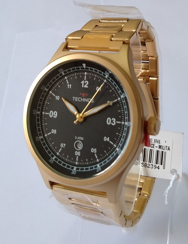 relógio masculino dourado technos performance 2115mqy/4p.