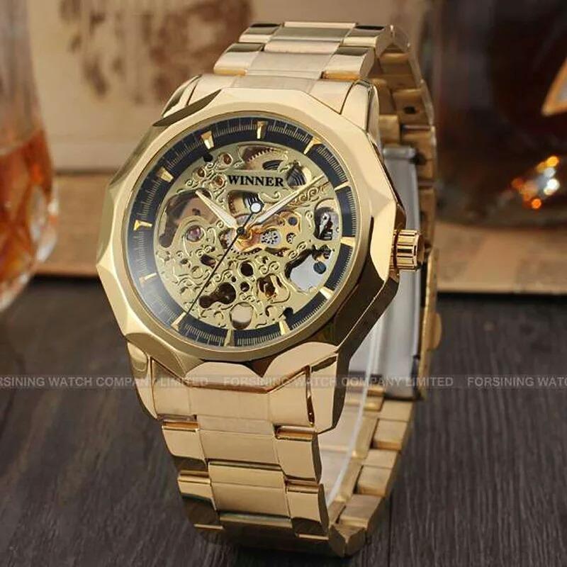 915ae90d85a relógio masculino dourado winner esqueleto automático frete. Carregando  zoom.
