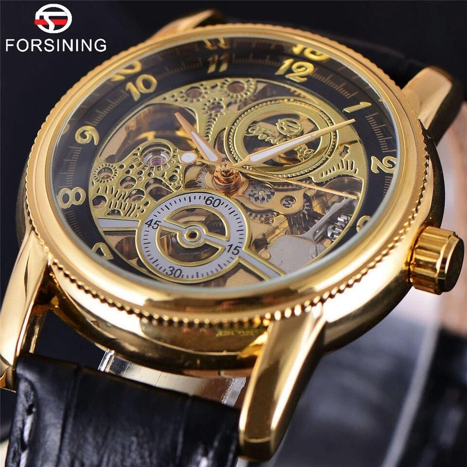 29454213e28 relógio masculino dourado winner esqueleto mecânico original. Carregando  zoom.