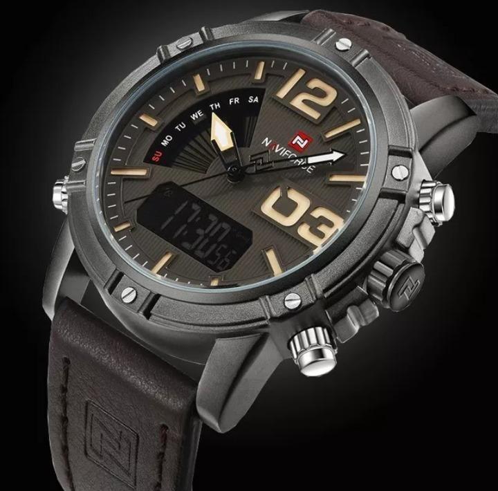 475db7eeba5 Relógio Masculino Esportivo Coffee Couro Naviforce Original - R  119 ...