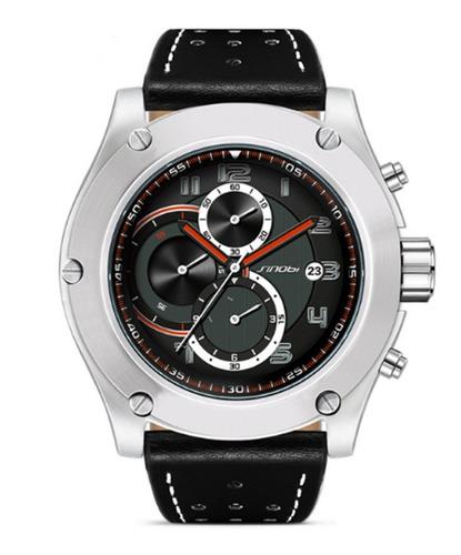 relógio masculino esportivo couro sinobi preto cronografo