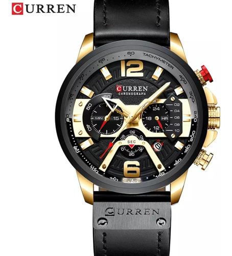 relógio masculino esportivo curren de couro luxo presente