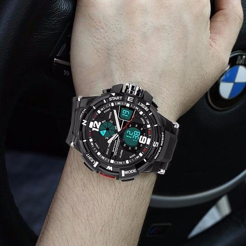 relógio masculino esportivo digital analógico resist. à água