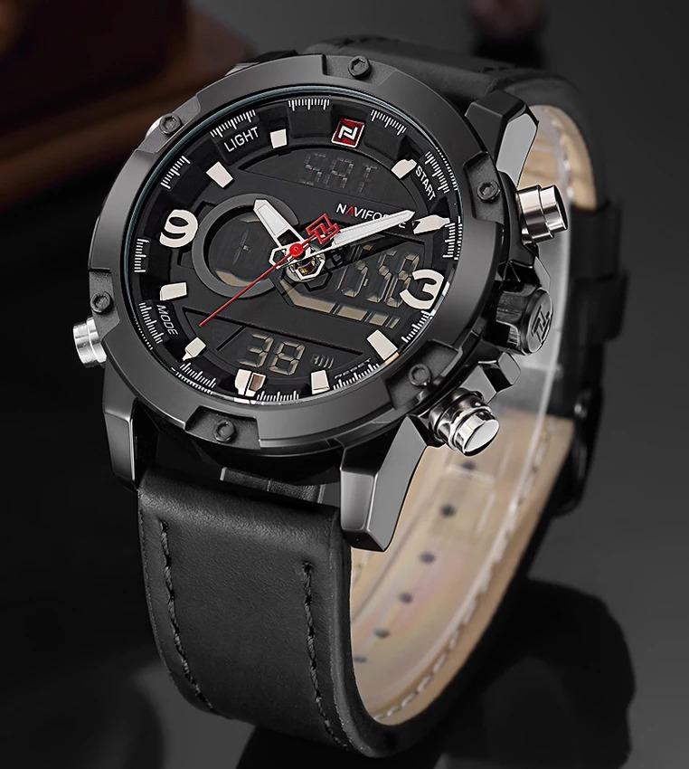 b7e9ac131b4 relógio masculino esportivo digital couro naviforce original. Carregando  zoom.