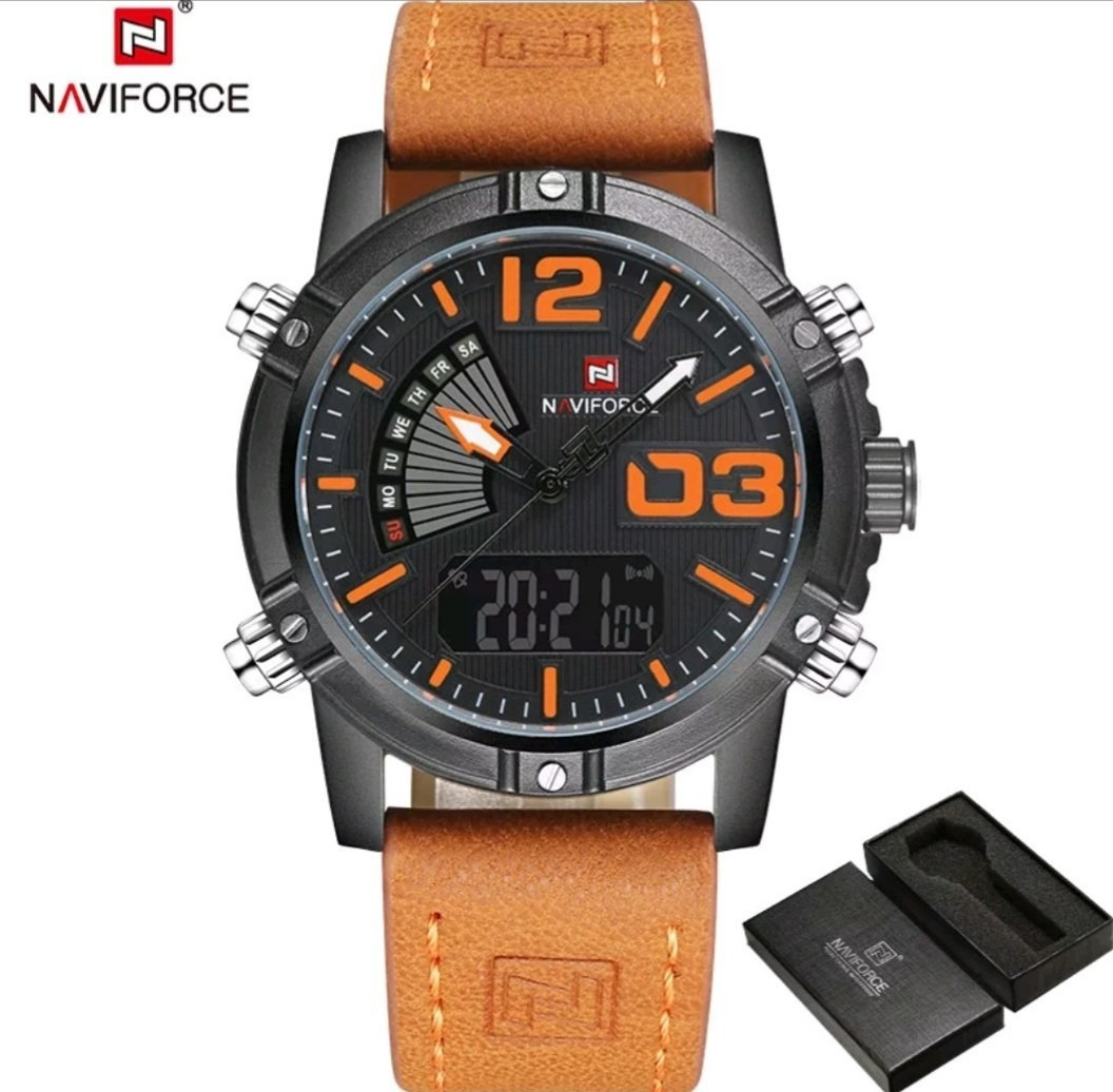 80004639297 relógio masculino esportivo militar couro naviforce original. Carregando  zoom.
