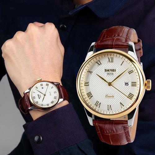 relógio masculino esportivo militar couro original luxo