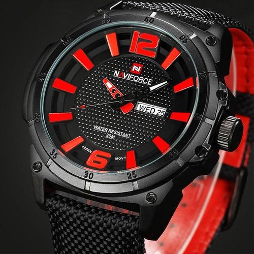 relógio masculino esportivo militar naviforce nylon original