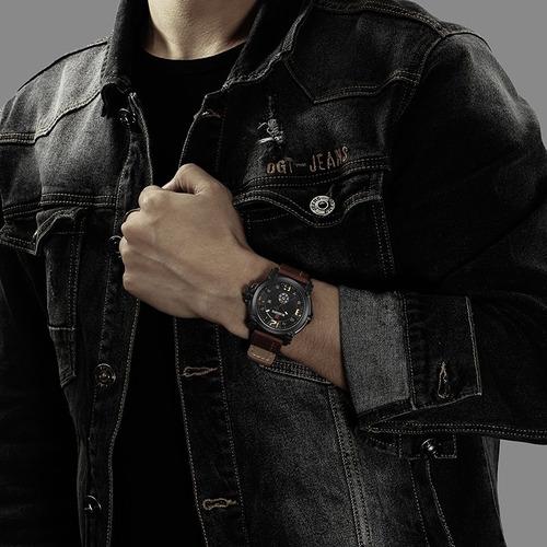 relógio masculino esportivo militar pulseira couro naviforce