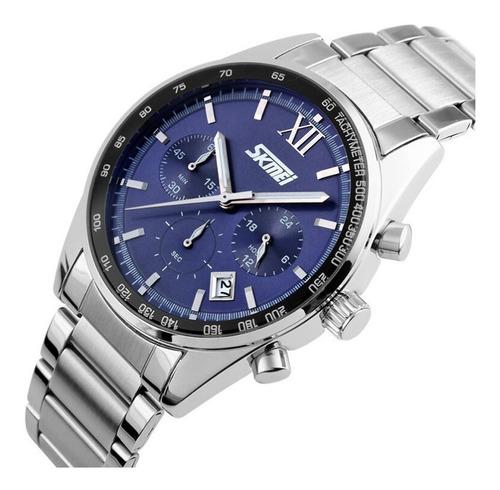 relógio masculino esportivo original analogico prata aço ino