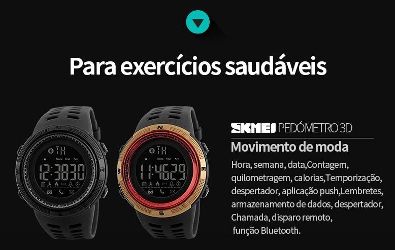 2fdf32b02b7 Relógio Masculino Esportivo Pedometro Skmei 1250 - Original - R  109 ...